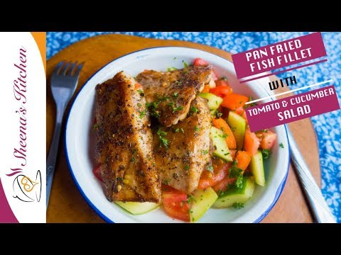 Easy And Healthy Pan Fried Fish Fillet/ Red Snapper/ With Tomato And Cumber Salad