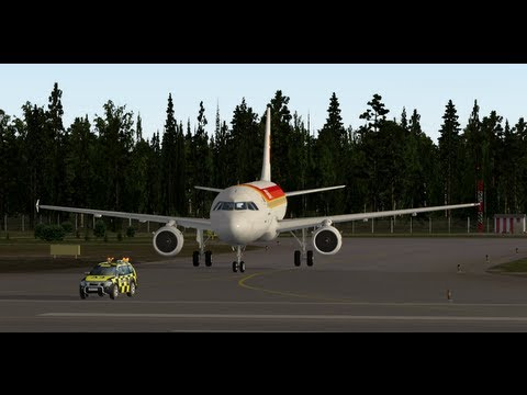 A320Neo taxiing with Follow Me Car in Tampere