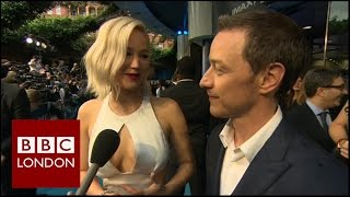 jennifer lawrence james mcavoy interview at premiere of x men apocalypse bbc london news