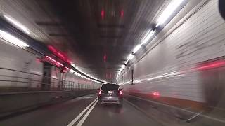 Driving from Holland Tunnel in Manhattan,New York to Newark,New Jersey at night