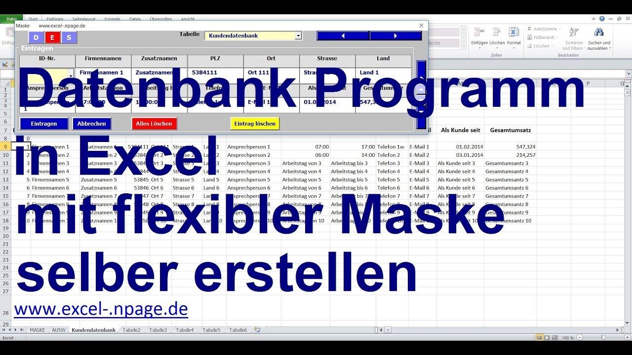 2 datenbank programm in excel mit flexibler maske selber erstellen youtube. Black Bedroom Furniture Sets. Home Design Ideas