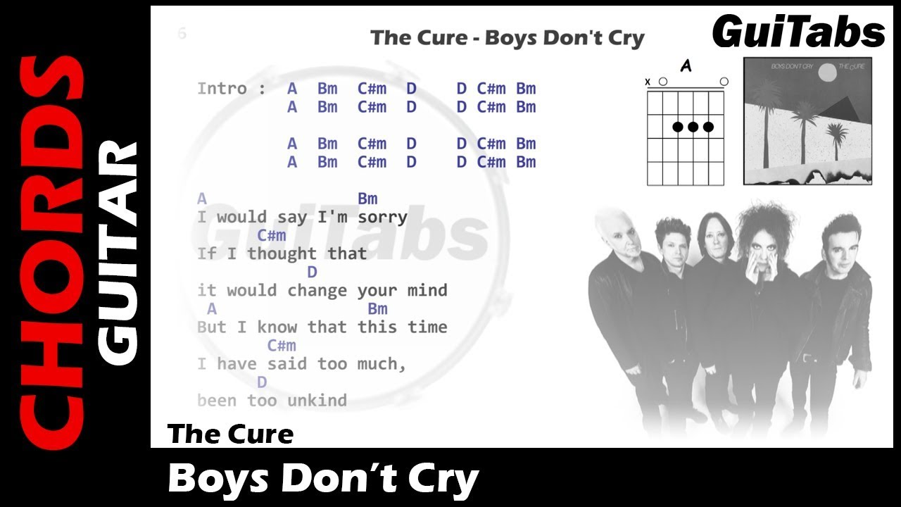The Cure Boys Dont Cry Lyrics And Guitar Chords Youtube