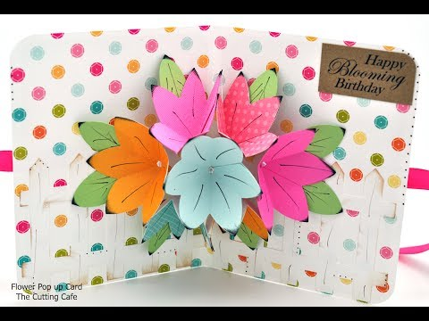 flower pop up card template the cutting cafe youtube