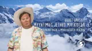 Myyntimies Jethro matkoilla TV5:lla maanantaisin klo 20.00 alkaen 6.3.