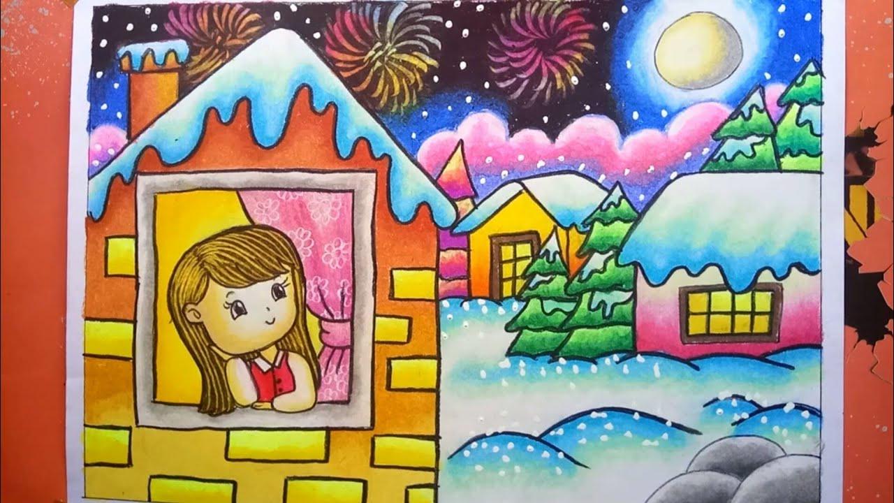 Menggambar Dan Mewarnai Langit Tahun Baru Menggambar Kembang Api Tahun Baru