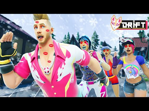 DRIFT PLAYS WINTERFEST KISS CHASING WITH ALL THE GIRLS!! - Fortnite Short Movies