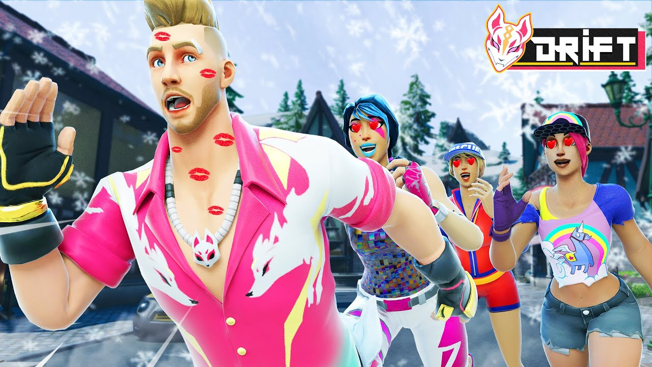 DRIFT PLAYS WINTERFEST KISS CHASING WITH ALL THE GIRLS!! – Fortnite Short Movies
