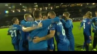 Iceland celebrate Euro 2016 qualification following draw with Kazakhstan.