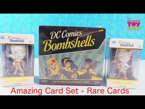 DC Comics Bombshells Trading Cards Full Box Golden Goddess Figures Unboxing Review | PSToyReviews
