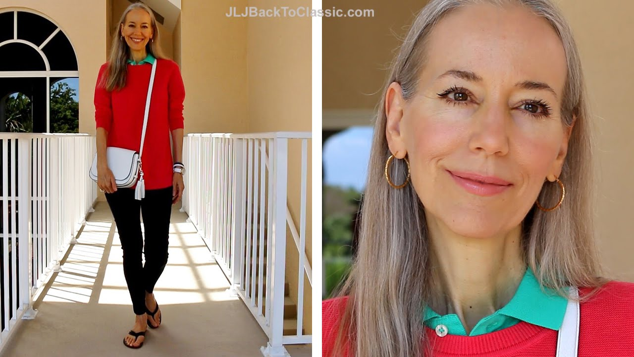 Classic Fashion Over 40 Over 50 Casual Preppy How I Styled Navy Leggings Youtube