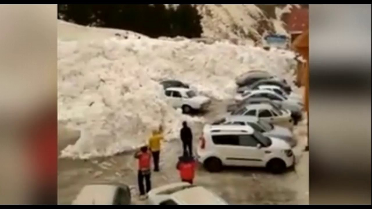 Avalanche Buries Cars In Parking Lot After Roaring Down Russia's Mt Elbrus