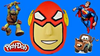 MEGA Surprise Egg Opening Flash Superhero Toys TMNT Disney CARS Play Doh Huevo Sorpresa