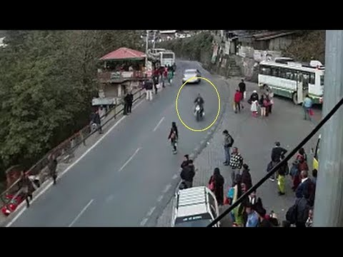 Video: Biker hits pedestrian at a Shimla bus stop, flees the spot