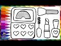 Dibuja y Colorea Un Kit de Maquillaje de Arcoiris CON PURPURINA 💅💄💋🌈 Dibujos Para Niños