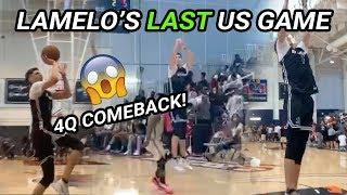 LaMelo Ball's LAST GAME In The US! Leads INSANE 2nd Half Comeback, 11 Points In 1 Minute 😱 😱