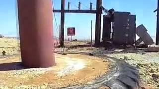 Daños al equipo de la mina después de la huelga de cananea.