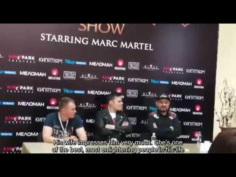 Marc Martel - Short bit of a press conference in Almaty, Kazakhstan (Eng. Subs)