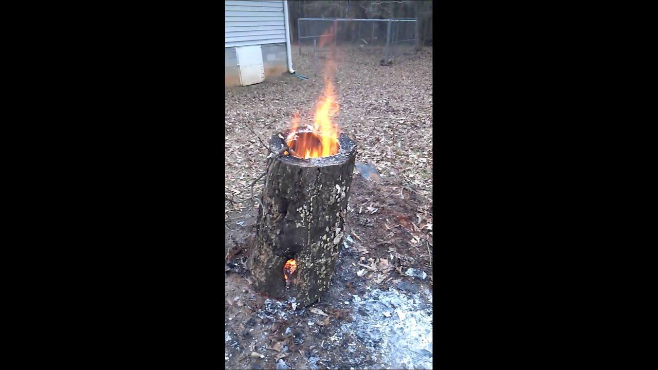 Hollow log rocket stove - YouTube