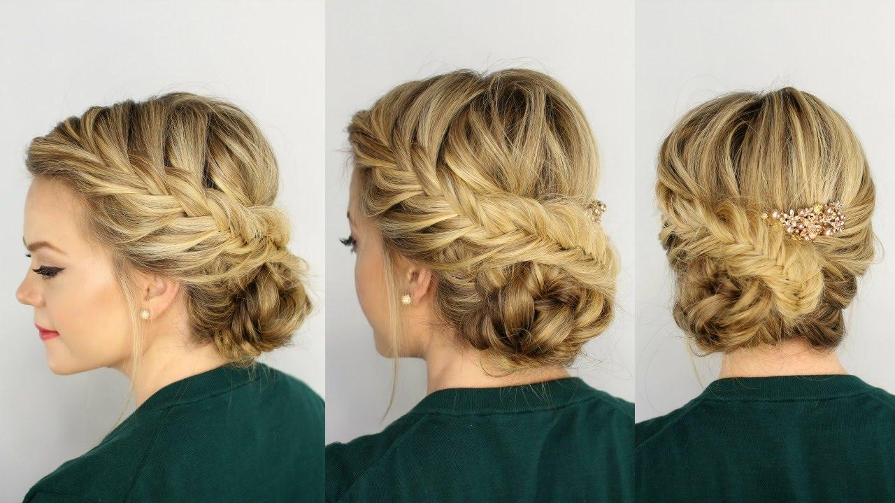 Fishtail side braid wedding