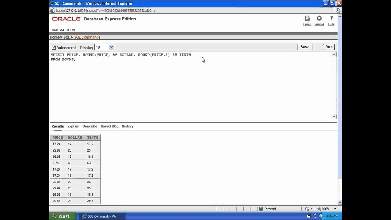 Sql With Oracle 10g Xe Using The Round And Floor Functions