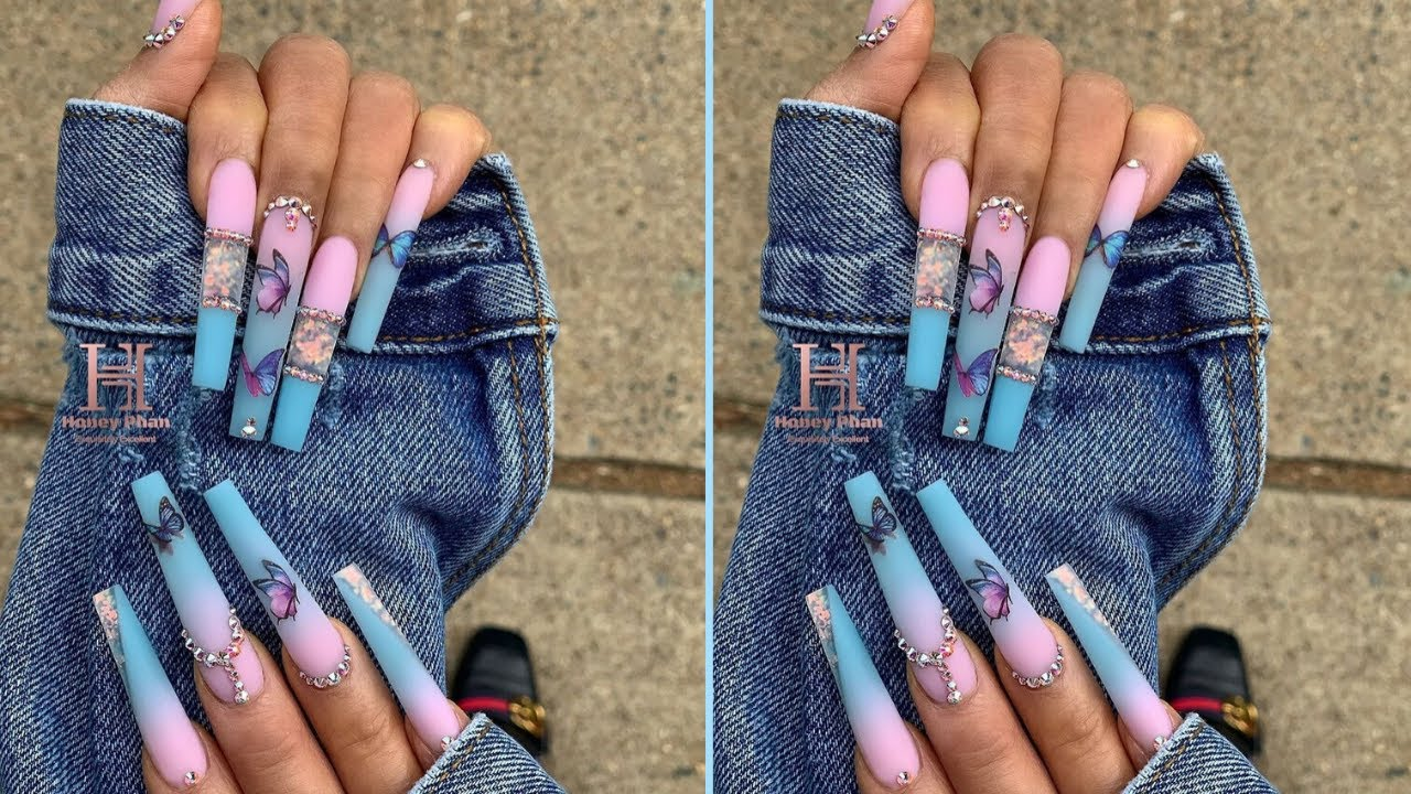 Download BUTTERFLY LONG ACRYLIC NAILS TUTORIAL 2020   HOW TO APPLY NAIL DECAL STICKERS DIY  NAILS FASCINATION