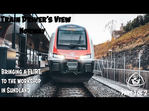 TRAIN DRIVER'S VIEW 360: Taking A FLIRT To The Workshop In Drammen Part 1 Of 2