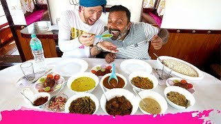 South Indian SEAFOOD FEAST in the KERALA BACKWATERS + Houseboat Tour | Alappuzha, India