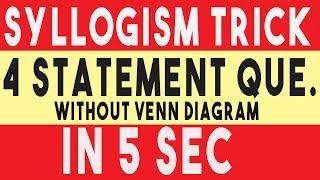 Syllogism Tricks without venn diagram in hindi   Syllogism tricks using formula [100% Accuracy ✔✔✔]