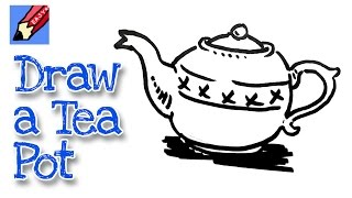 How to draw a Tea Pot Real Easy - for kids and beginners