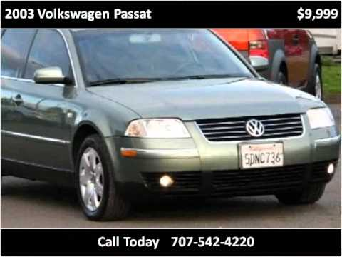 2003 volkswagen passat used cars santa rosa ca youtube. Black Bedroom Furniture Sets. Home Design Ideas