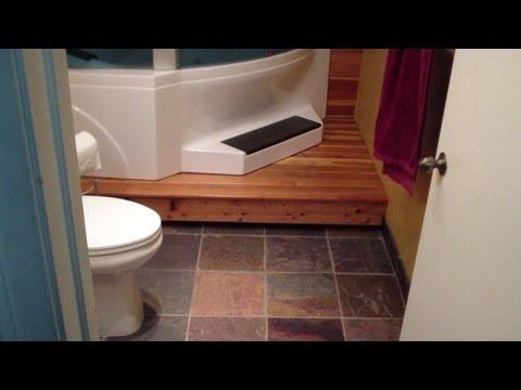 Slate Floor and Redwood Deck Bathroom Tutorial