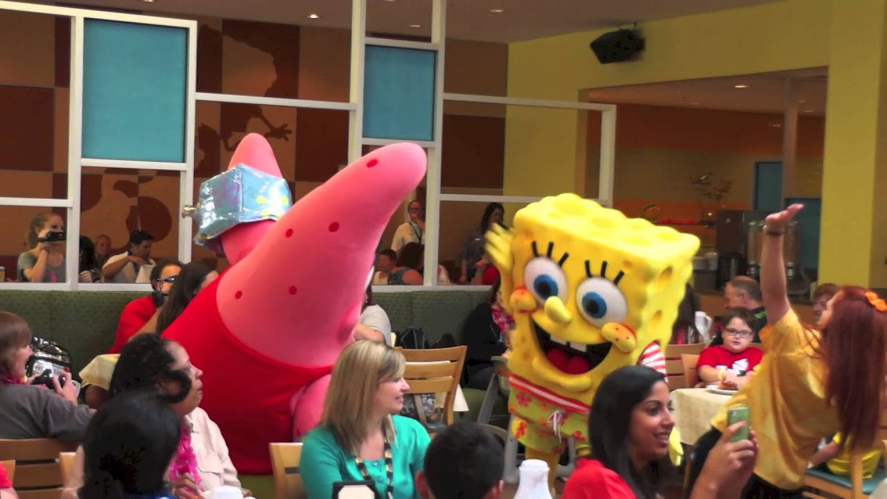 Spongebob squarepants character breakfast at nick hotel for Character hotel