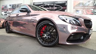 C63 AMG Wrapped CHROME ROSE GOLD!!