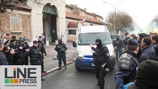 Blocage prison + extraction de Jawad Bendaoud / Fresnes (94) - France 24 janvier 2018