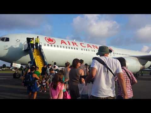 St Lucia Airport - Air Canada boarding - Hewanorra International Airport