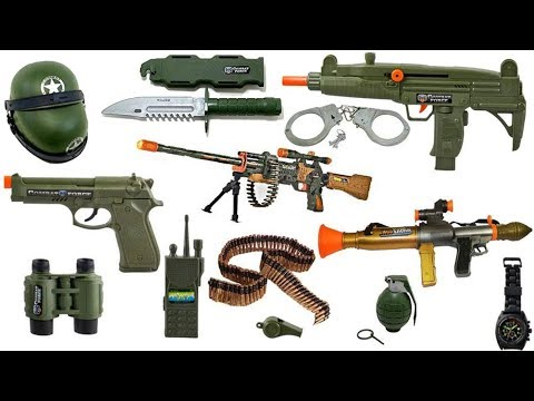 Military TOY GUN ! RPG Toys,Machine guns,Crossbow, Box of Toys ! Video/Toys for Kids