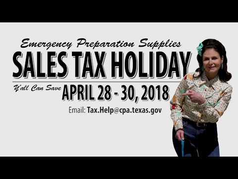 2018 Emergency Preparation Supplies Sales Tax Holiday