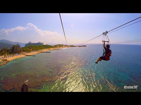 [HD] Dragon's Breath Zipline - World's Longest Zipline over Water - Labadee, Haiti - Caribbean