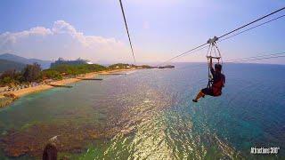 [HD] Dragon's Breath Zipline - World's Longest Zipline over Water - Labadee, Haiti - Caribbean