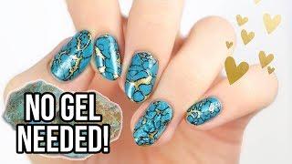 Realistic Turquoise Stone Nails Using REGULAR NAIL POLISH!