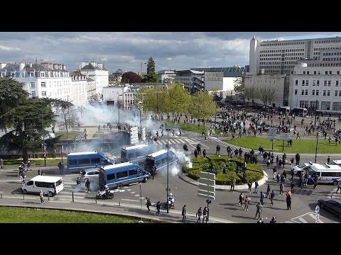 Nantes, 28 avril 2016 - La manifestation contre la Loi Travail vire à l'émeute