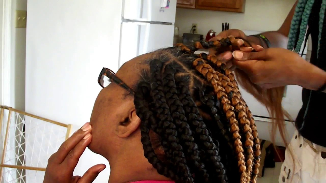 Medium Jumbo Box Braids With Triangular Parts Youtube
