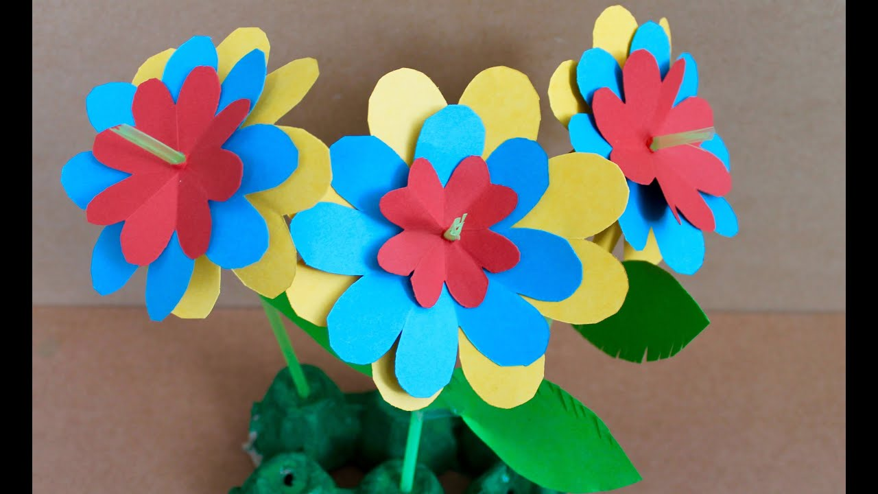 Easy paper craft how to make paper flowers youtube for How to make craft