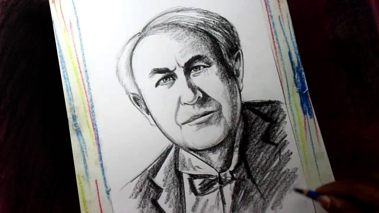 How To Draw Scientist Thomas Alva Edison Thomas Edison Drawing