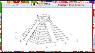 How to draw Chichen Itza Mexico(Wonder of the world) - Learn By Art