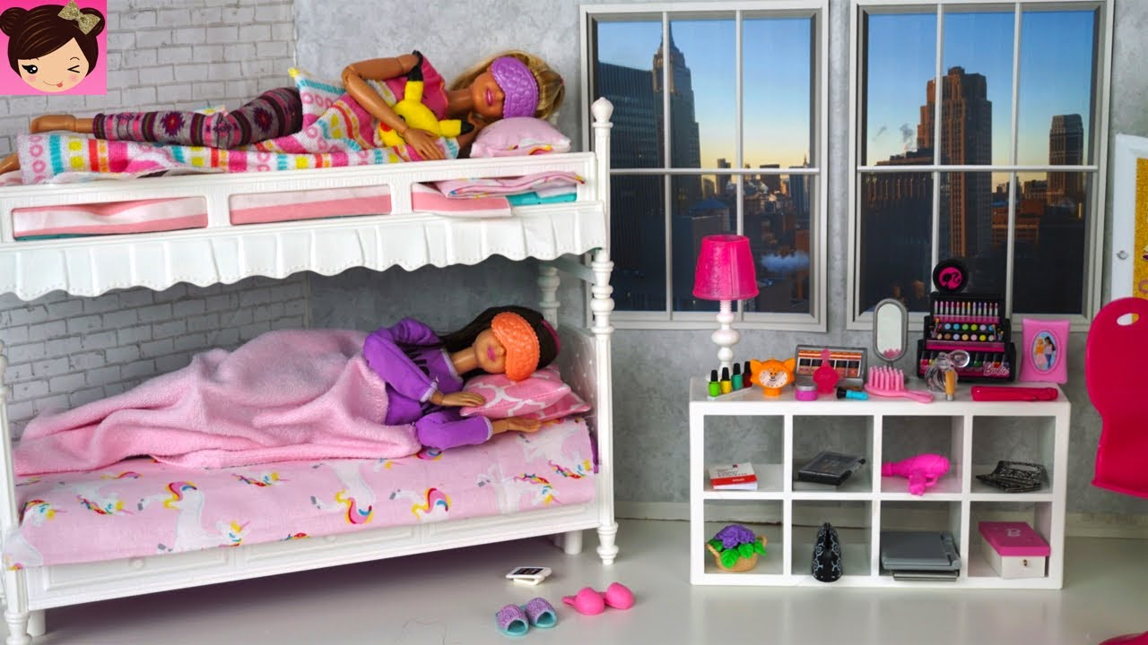 Barbie Sisters Bunk Bed Bedroom Morning Routine Playing With Doll