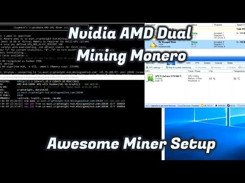 How To Mine Monero Awesome Miner Full Guide NVIDIA AMD At The Same Time