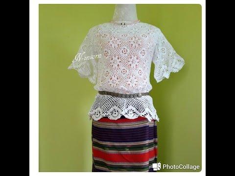 เสื้อถัก Crochet ต่อดอกลายดอกไม้สีขาว