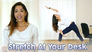 10 Min Yoga Stretch at Your Desk ♥ Back Pain, Stress Relief, Stretches Exercises, Chair Yoga Part 2