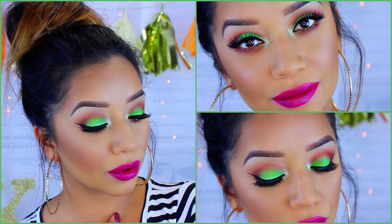 Green and pink barbie cut crease makeup tutorial with electric.